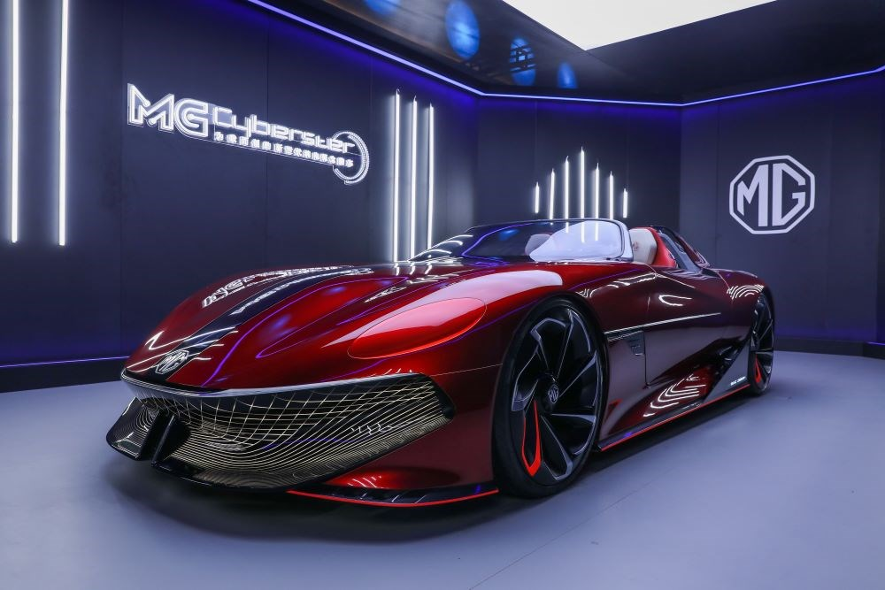 The MG Booth at the Shanghai Motor Show 2021